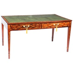 Antique George III Walnut Library Writing Table Desk, 18th Century