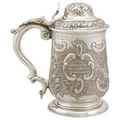 Antique George IV 1820s Sterling Silver Quart Tankard