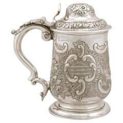 Antique George IV 1820s Sterling Silver Quart Tankard