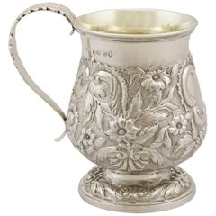 Antique George iv English Sterling Silver Christening Mug