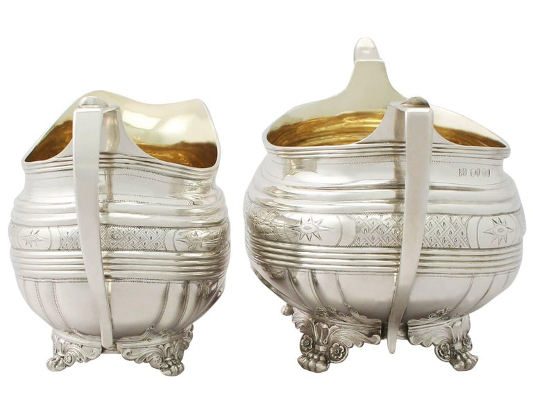 Great Britain (UK) Antique George IV English Sterling Silver Cream Jug or Creamer and Sugar Bowl For Sale