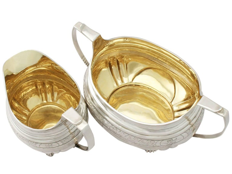 Antique George IV English Sterling Silver Cream Jug or Creamer and Sugar Bowl For Sale 4