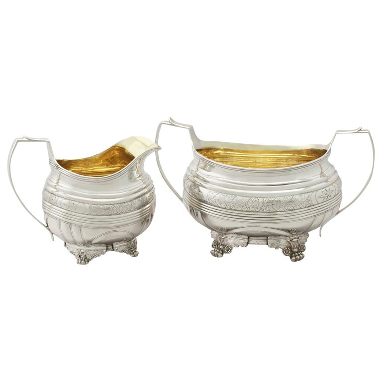 Antique George IV English Sterling Silver Cream Jug or Creamer and Sugar Bowl For Sale