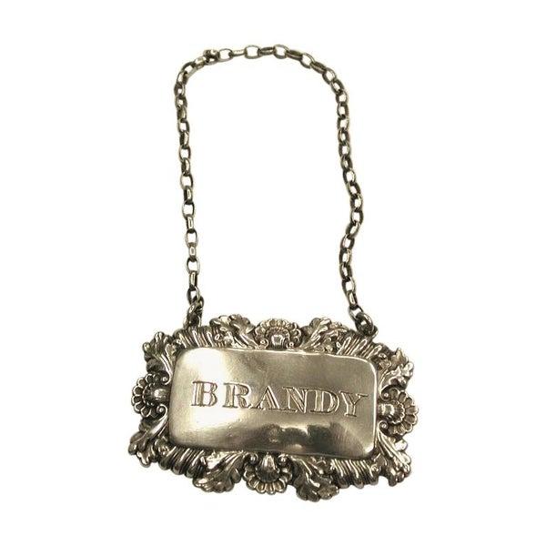 Antique George IV Silver Brandy Label, Birmingham, Ledsam, Vale and Wheeler 1828