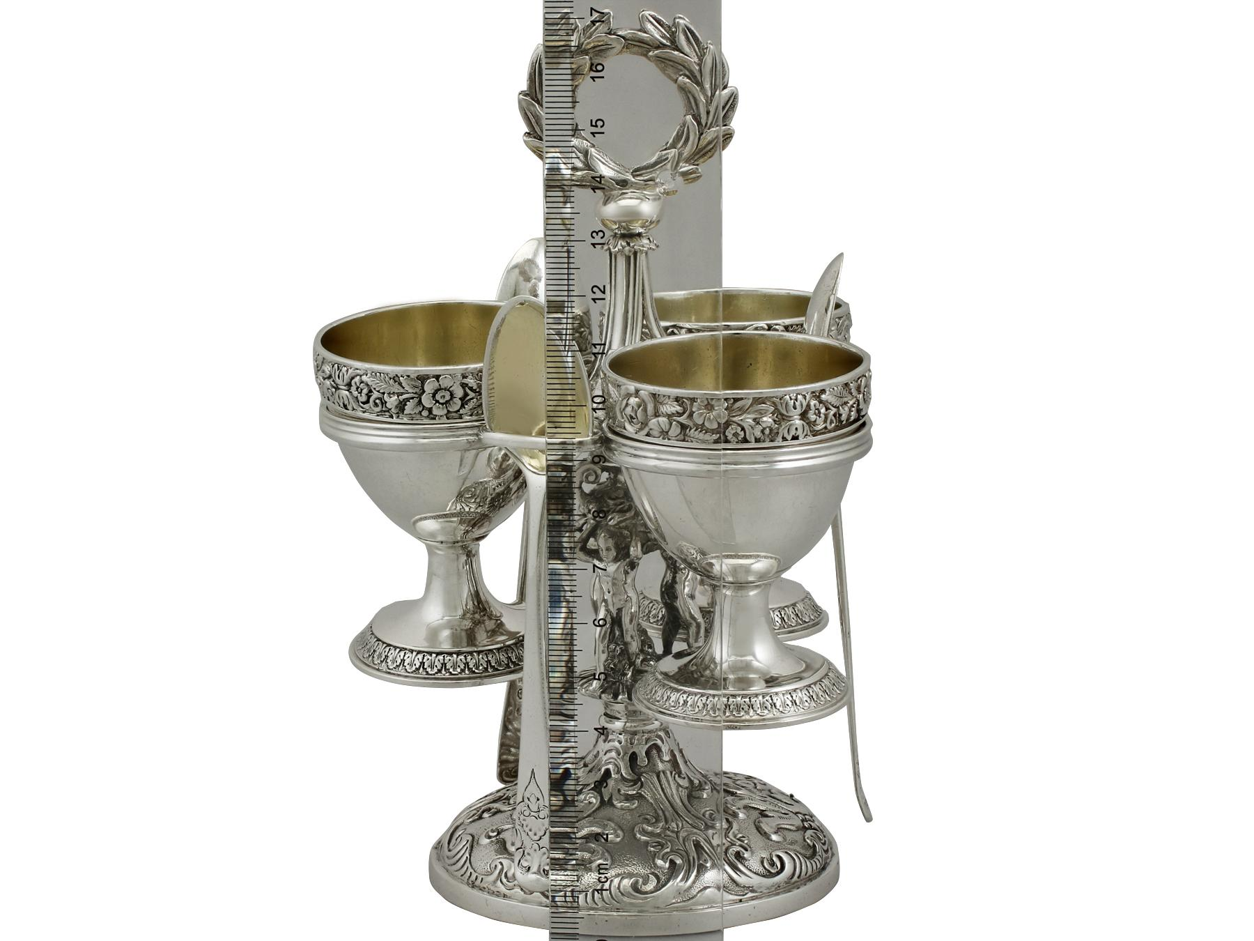 f8971ca06ecb Antique Sterling Silver Egg Cruet Set for Three Persons For Sale at 1stdibs