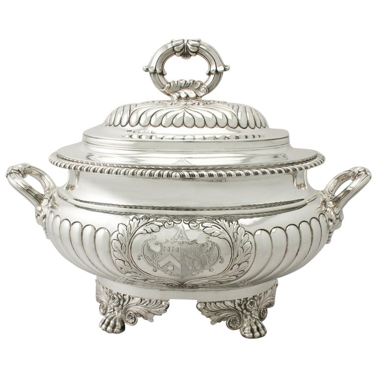 Antique George IV Sterling Silver Soup Tureen or Centerpiece For Sale