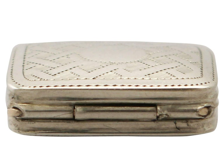 A fine and impressive antique George IV English sterling silver vinaigrette; an addition to our silver boxes collection.