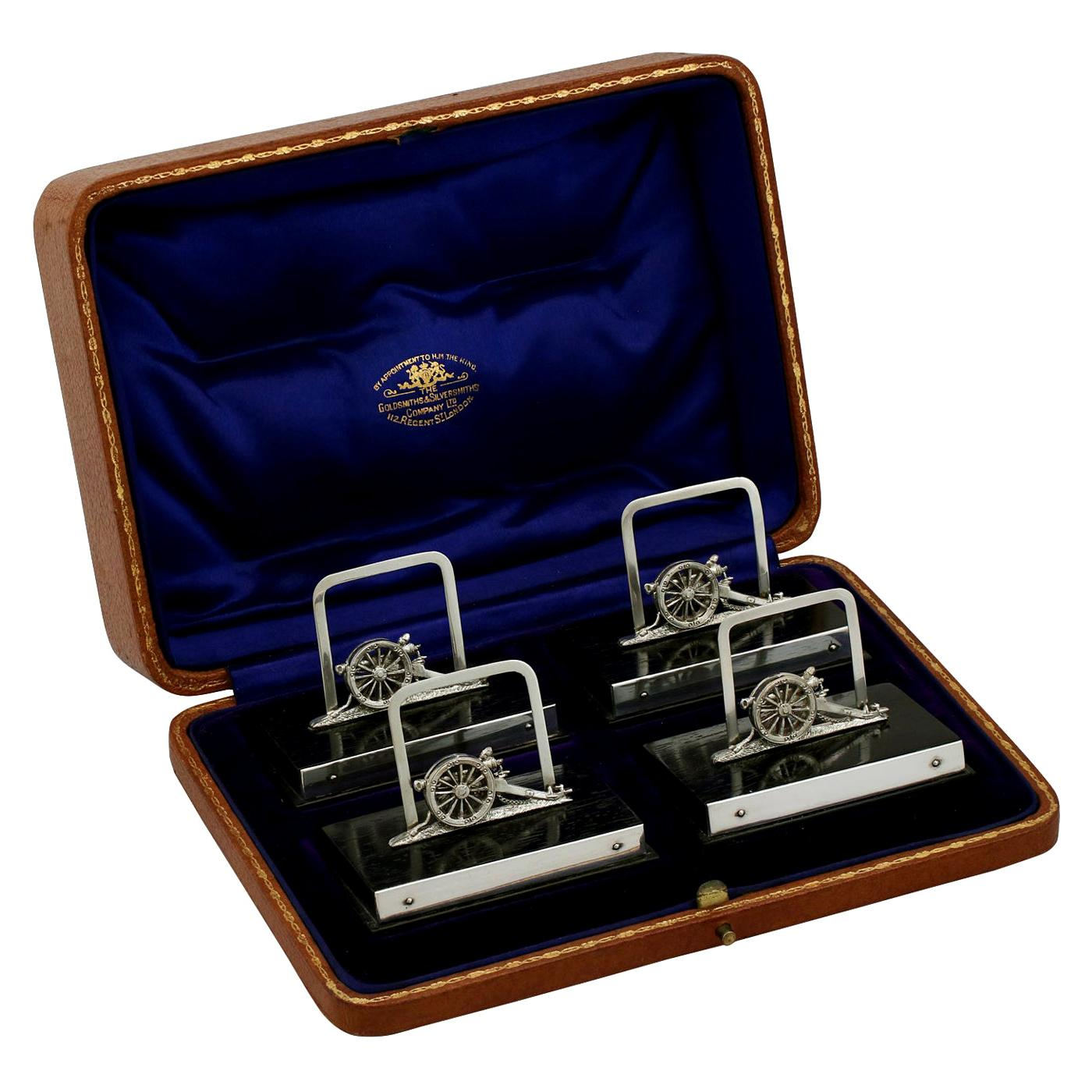 Antique George V 1912 English Sterling Silver Menu Holders