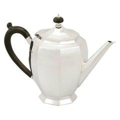 Antique George V 1930s Sterling Silver Teapot by Roberts & Belk Ltd
