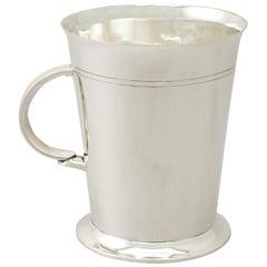 Antique George V Art Deco Sterling Silver Pint Mug