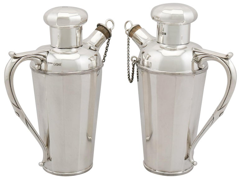 Art Deco Antique Sterling Silver Cocktail Shakers For Sale