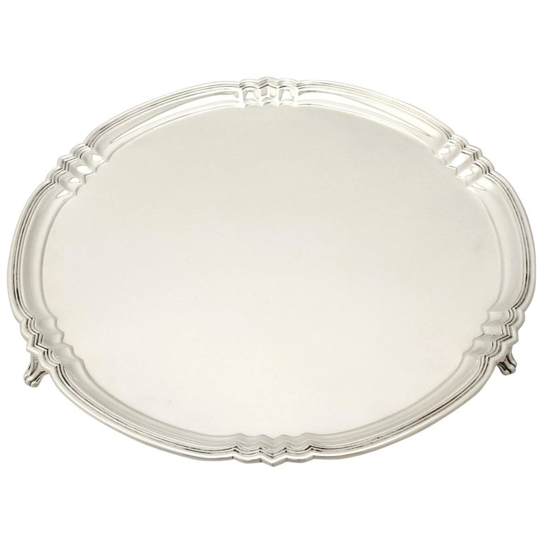 Antique George V Art Deco Style Sterling Silver Salver by Reid & Sons For Sale