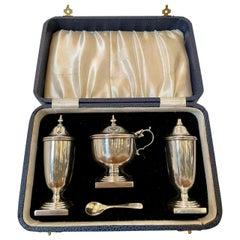 Antique George V Cased 4-Piece Sterling Silver Condiment Set, Viners Sheffield