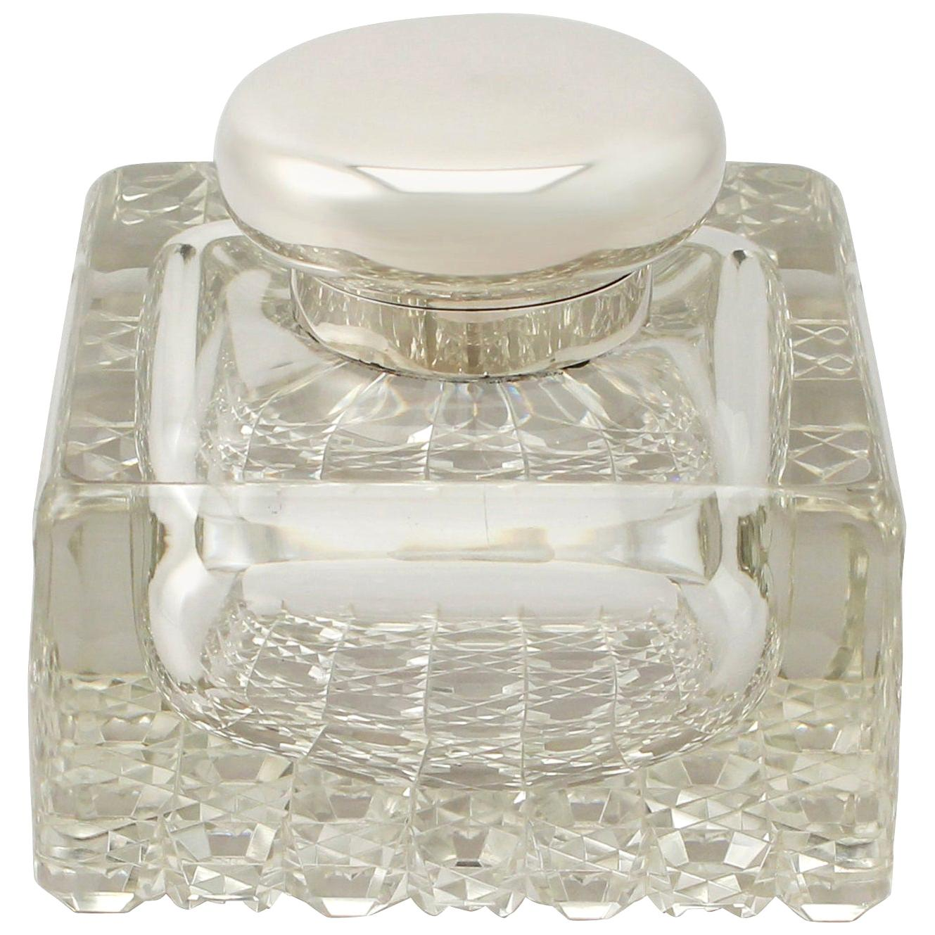 Antique George V Cut Glass and Sterling Silver Desk Inkwell