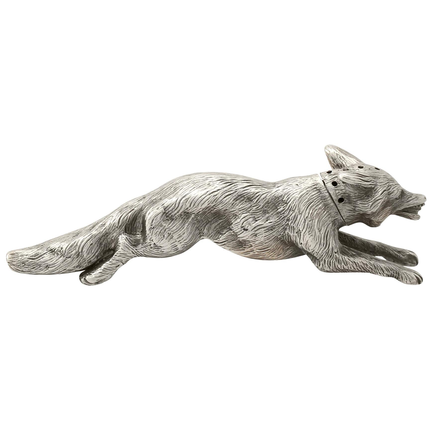 Antique George V English Sterling Silver Fox Pepperette, 1910