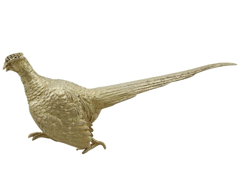 Early 20th Century Antique George V English Sterling Silver 'Pheasant' Pepperette For Sale
