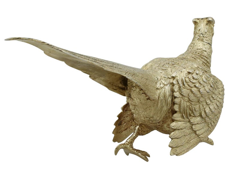 Antique George V English Sterling Silver 'Pheasant' Pepperette For Sale 2