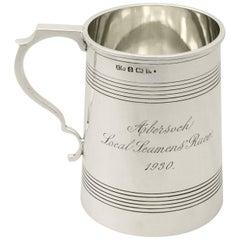 Antique George V English Sterling Silver Pint Mug by Henry Matthews