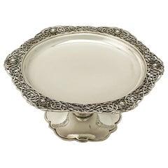Antique George V Lindisfarne Style Irish Sterling Silver Tazza, 1923