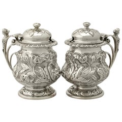 Antique George V Pair of English Sterling Silver Mustard Pots