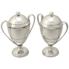 Antique George V Pair of Sterling Silver Preserve Pots by the Pairpoint Brothers
