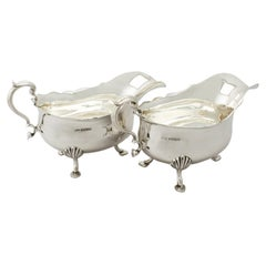 Antique George V Pair of Sterling Silver Sauce/Gravy Boats