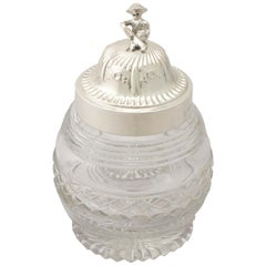 Antique George V Sterling Silver and Cut Glass Tea Caddy