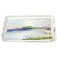 Antique George V Sterling Silver and Enamel Dressing Table Tray