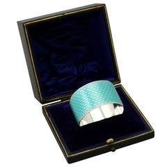 Antique George V Sterling Silver and Enamel Napkin Ring