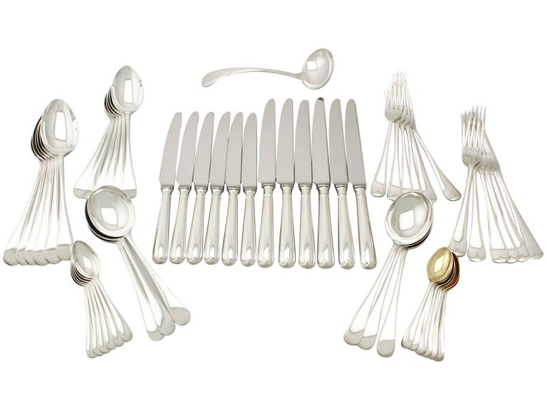 Antique George V Sterling Silver Canteen of Cutlery for Six Persons For Sale 3