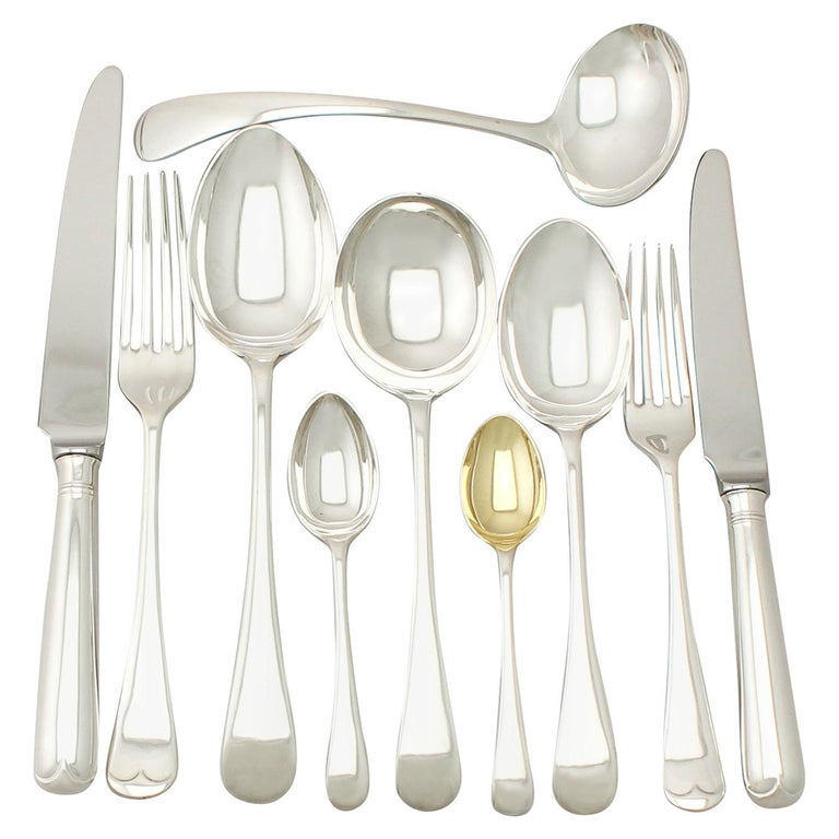 Antique George V Sterling Silver Canteen of Cutlery for Six Persons For Sale