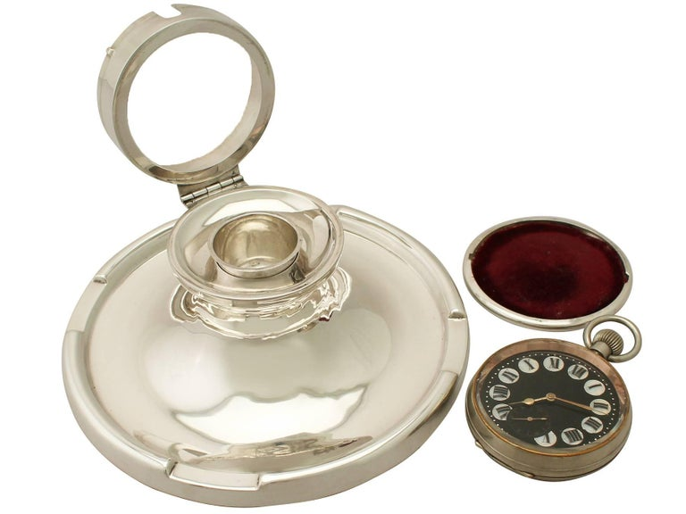 Antique George V Sterling Silver Capstan Watch Inkwell For Sale 1