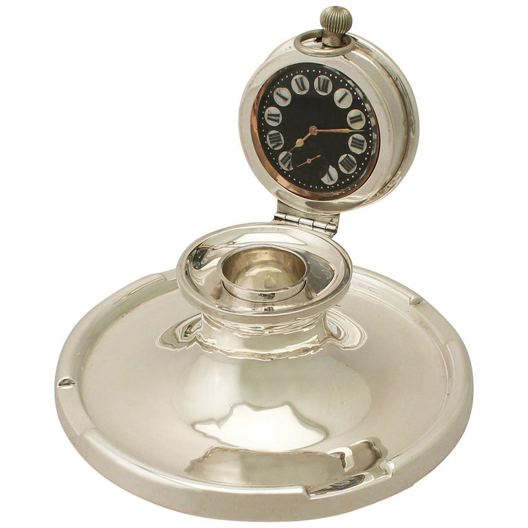 Antique George V Sterling Silver Capstan Watch Inkwell For Sale