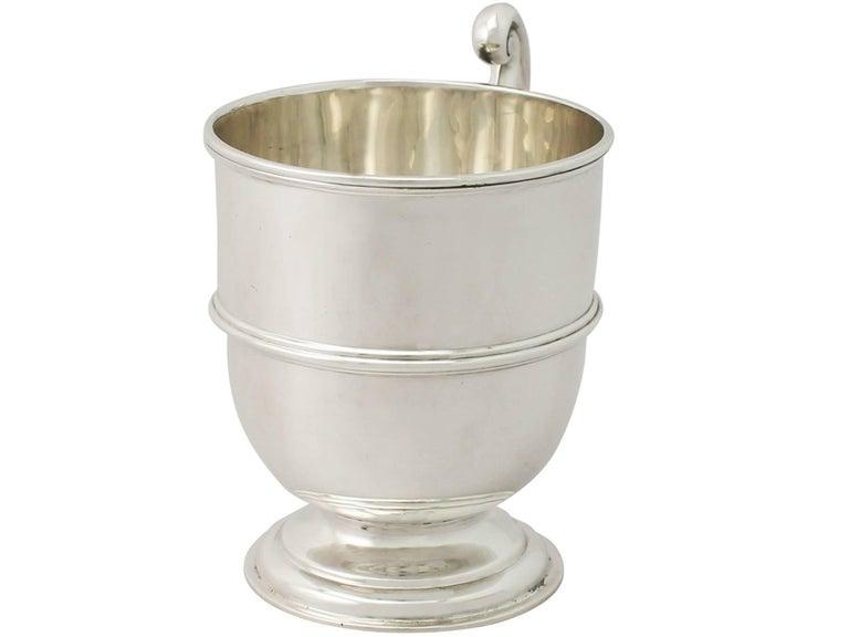 English Antique George V Sterling Silver Christening Mug For Sale
