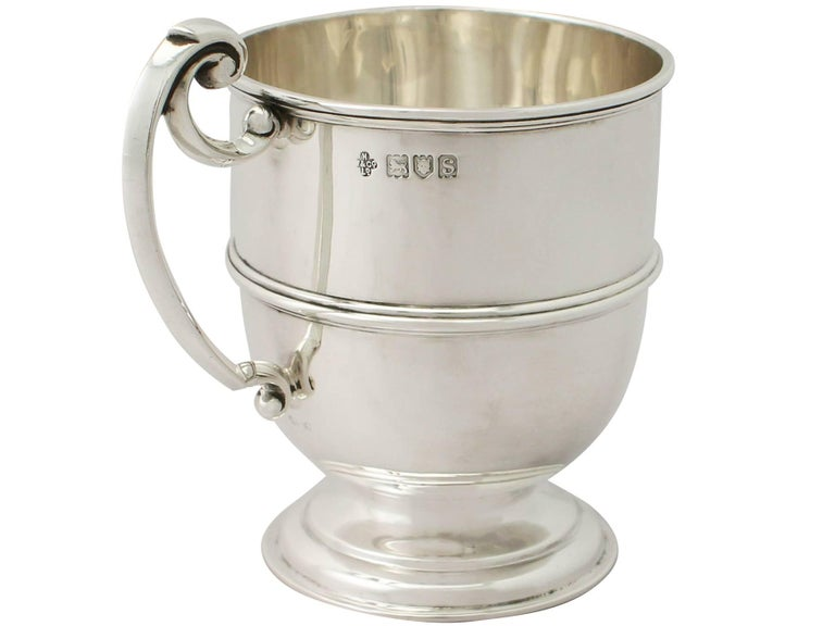 Early 20th Century Antique George V Sterling Silver Christening Mug For Sale