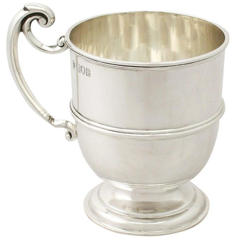 Antique George V Sterling Silver Christening Mug For Sale