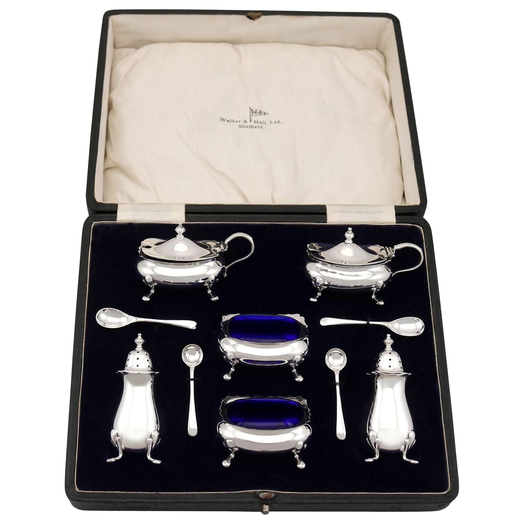 Antique George V Sterling Silver Condiment Set, 1929