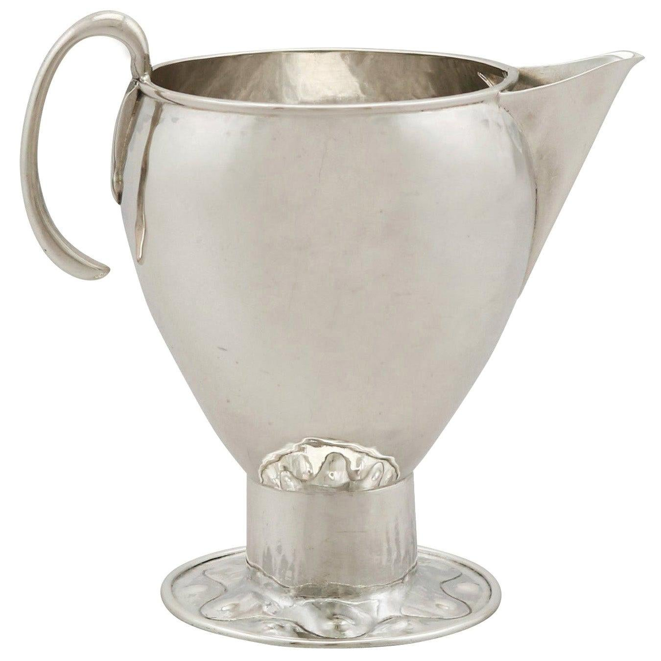 Antique George V Sterling Silver Cream Jug by A E Jones