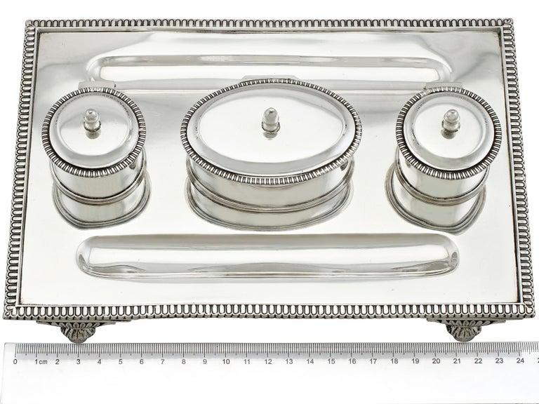 1925 Antique Sterling Silver Desk Standish For Sale 7