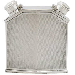 Antique George V Sterling Silver Double Hip Flask