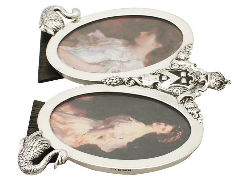 English Antique George V Sterling Silver Double Photograph Frame For Sale