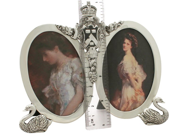 Antique George V Sterling Silver Double Photograph Frame For Sale 2