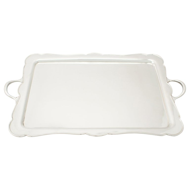 Antique George V Sterling Silver Drinks Tray For Sale