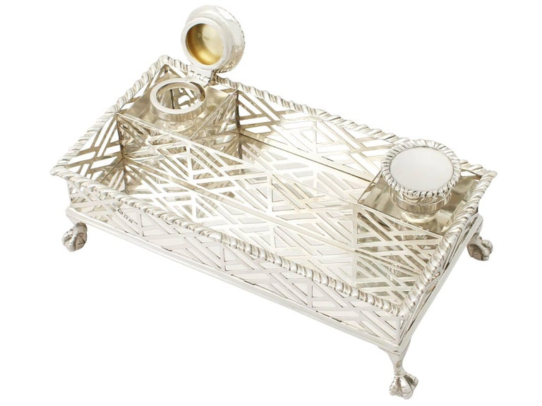 English Antique George V Sterling Silver Gallery Inkstand For Sale