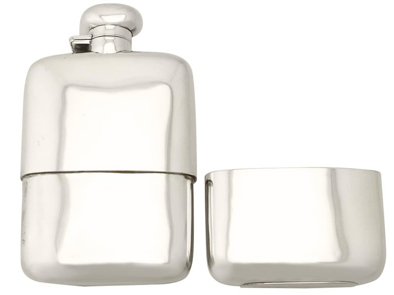Mid-20th Century Antique George V Sterling Silver Hip Flask by Herbert Hall, 1932 For Sale