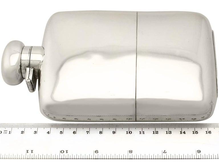 Antique George V Sterling Silver Hip Flask by Herbert Hall, 1932 For Sale 4