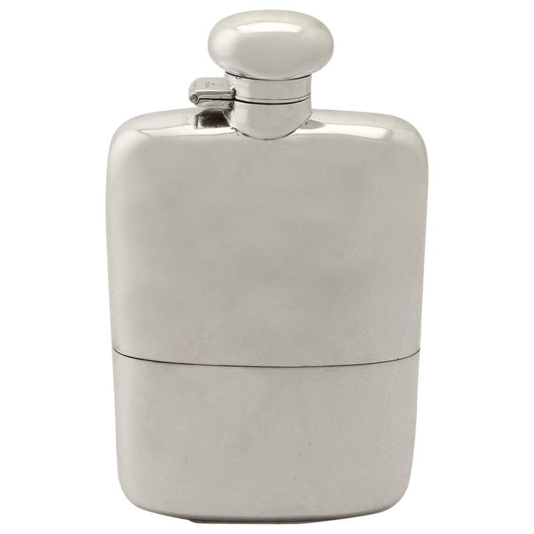 Antique George V Sterling Silver Hip Flask by Herbert Hall, 1932 For Sale