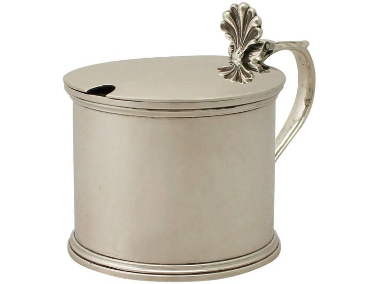 English Antique George V Sterling Silver Mustard Pot For Sale