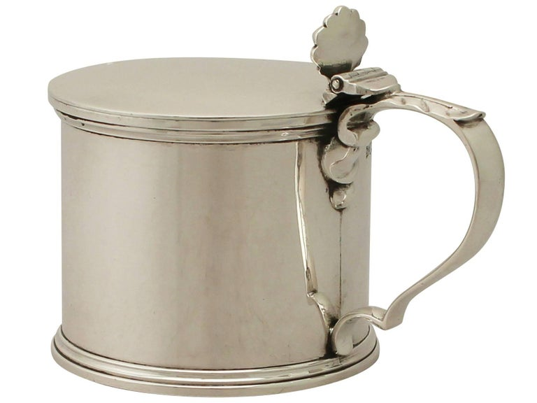 Antique George V Sterling Silver Mustard Pot In Excellent Condition For Sale In Jesmond, Newcastle Upon Tyne