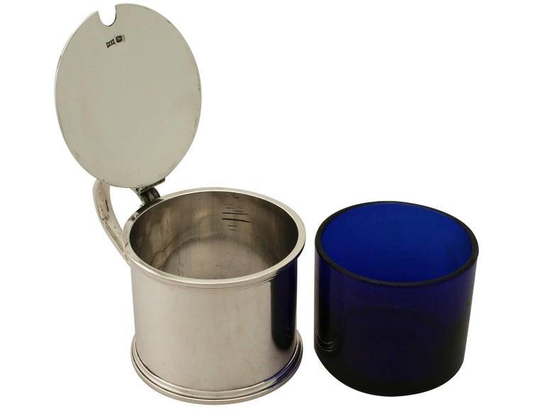 Antique George V Sterling Silver Mustard Pot For Sale 1